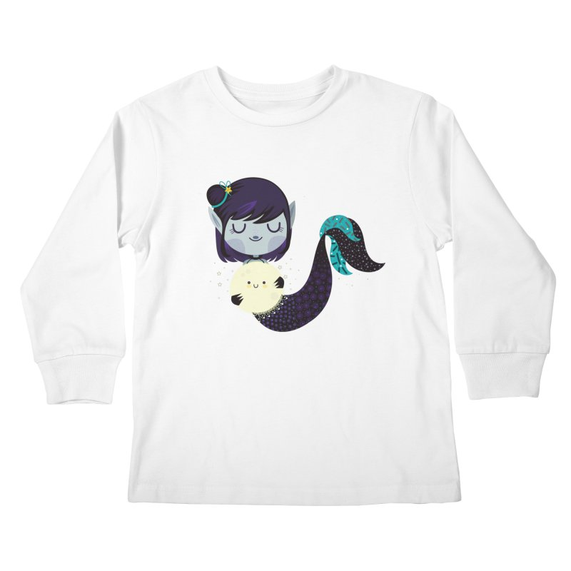Moonlight mermaid Kids Longsleeve T-Shirt by Maria Jose Da Luz