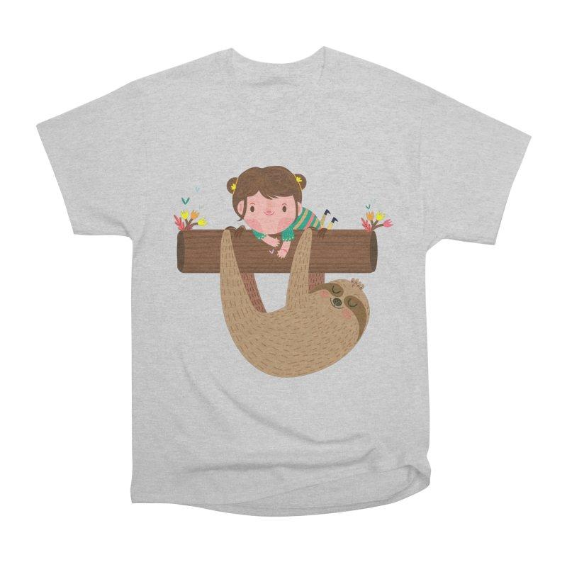 Girl and sloth Men's T-Shirt by Maria Jose Da Luz