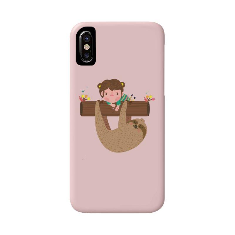 Girl and sloth Accessories Phone Case by Maria Jose Da Luz
