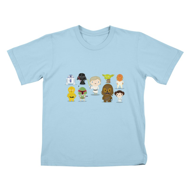 Mini starwars  in Kids T-Shirt Powder Blue by Maria Jose Da Luz
