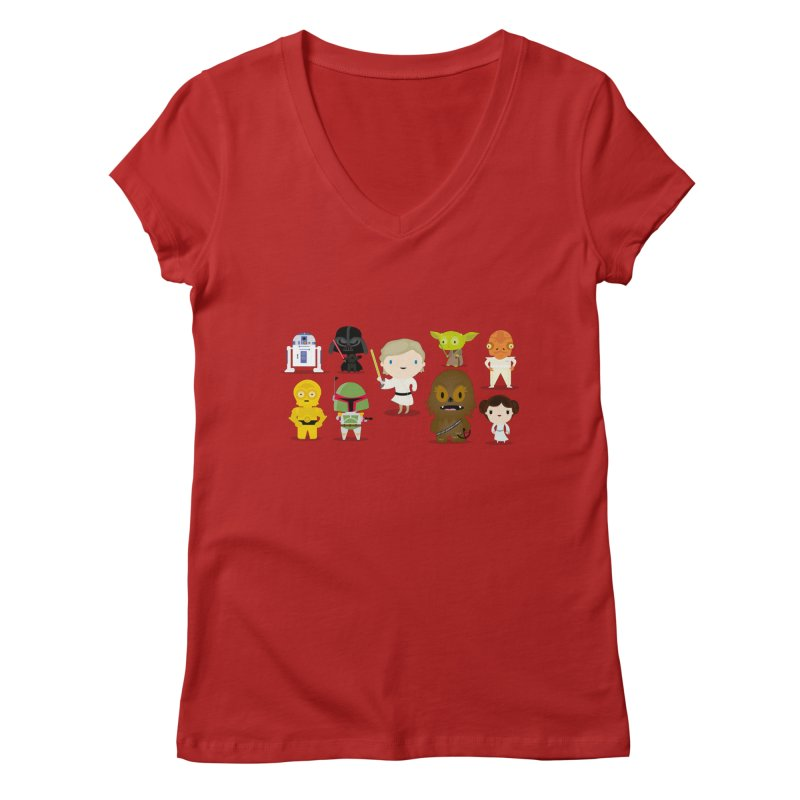Mini starwars  Women's V-Neck by Maria Jose Da Luz