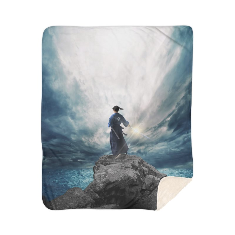 The Sword of Kaigen Cover Art Home Sherpa Blanket Blanket by M. L. Wang Shop