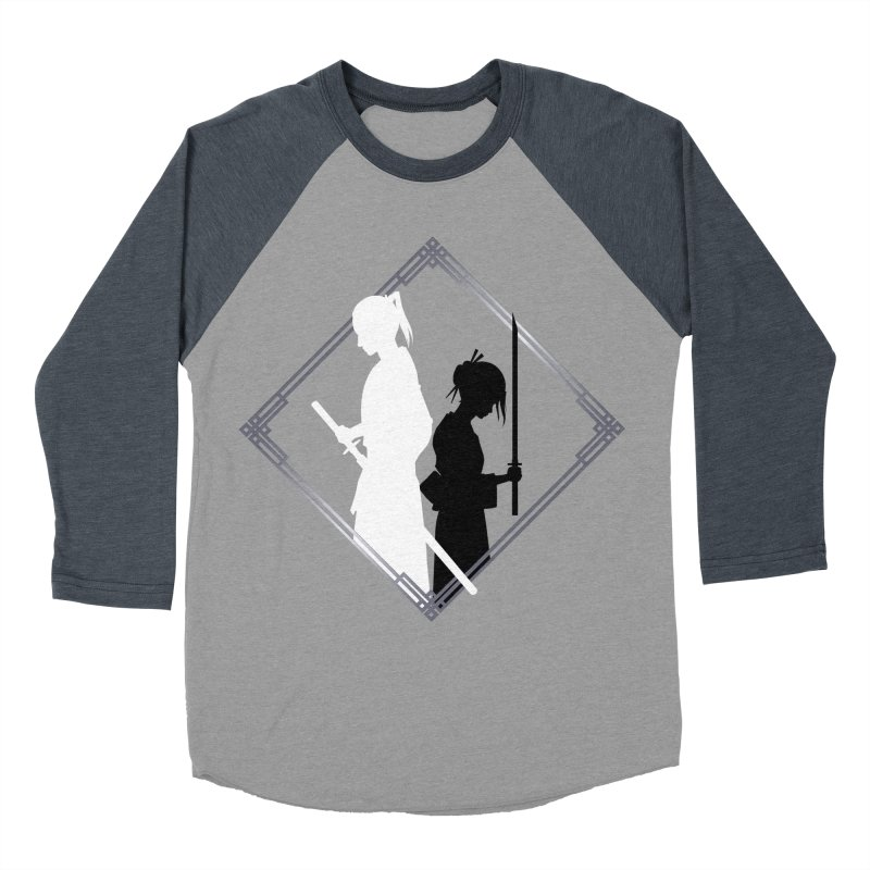 The Sword of Kaigen - Misaki & Takeru Graphic in Women's Baseball Triblend Longsleeve T-Shirt Navy Sleeves by M. L. Wang Shop