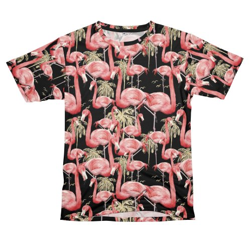 image for Pattern of flamingos among golden palm trees