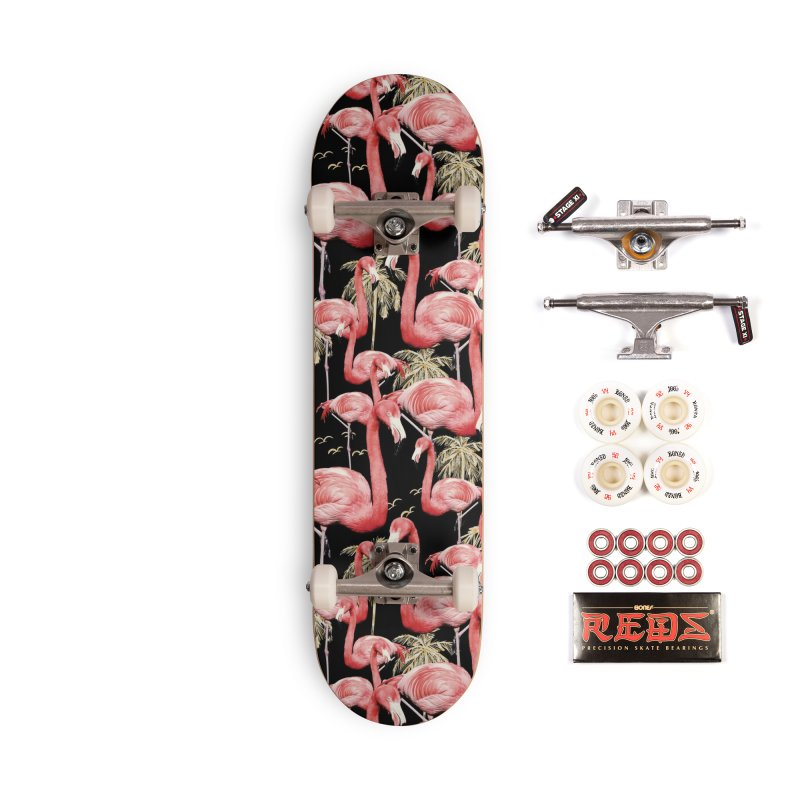 Pattern of flamingos among golden palm trees Accessories Skateboard by mmartabc's Artist Shop
