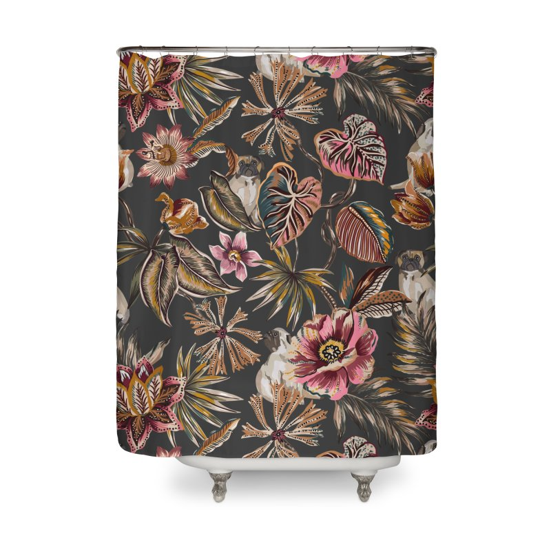 Pugs in the bohemian bloom 3 Home Shower Curtain by mmartabc's Artist Shop