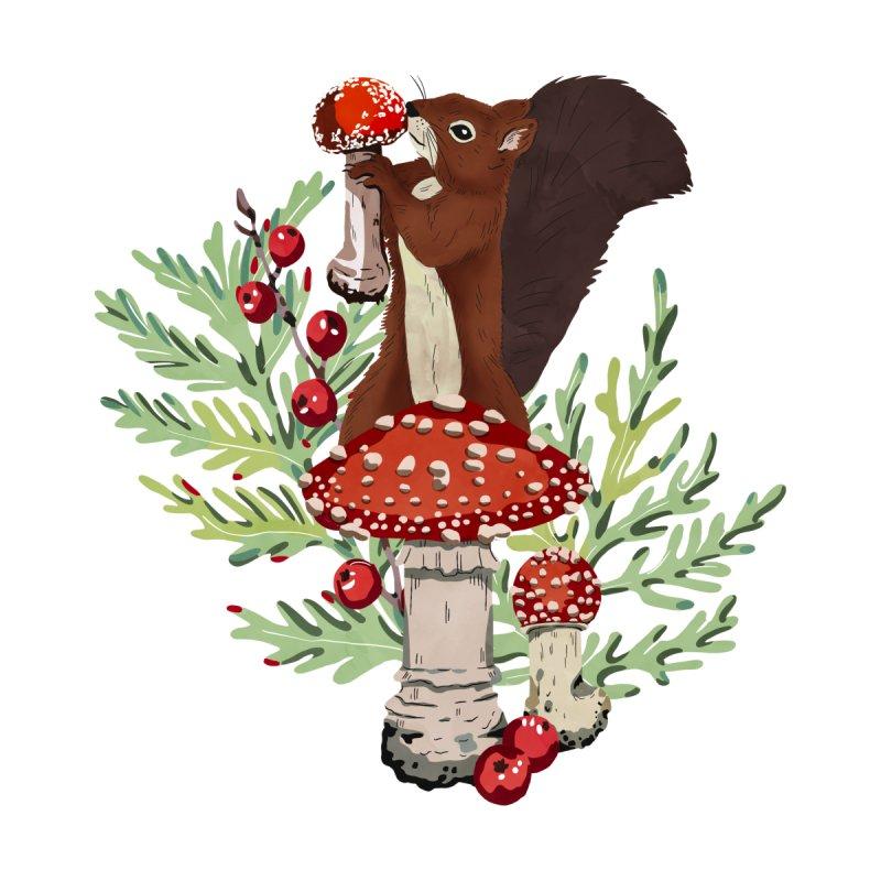 Squirrel in the mushrooms Women's Longsleeve T-Shirt by mmartabc's Artist Shop