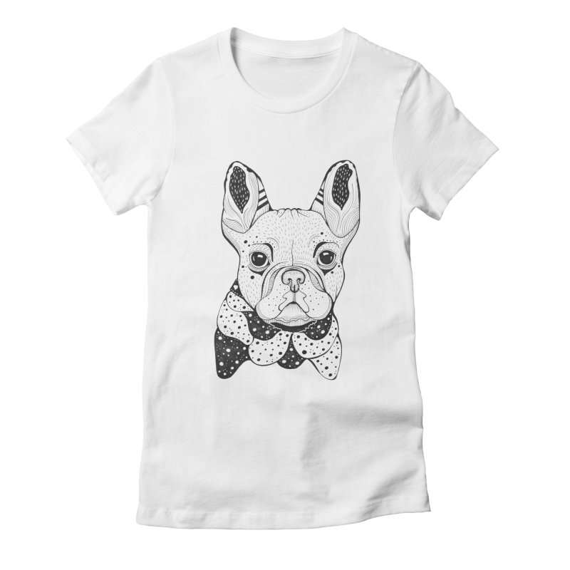 French Bulldog Women's Fitted T-Shirt by mmuffn's Artist Shop