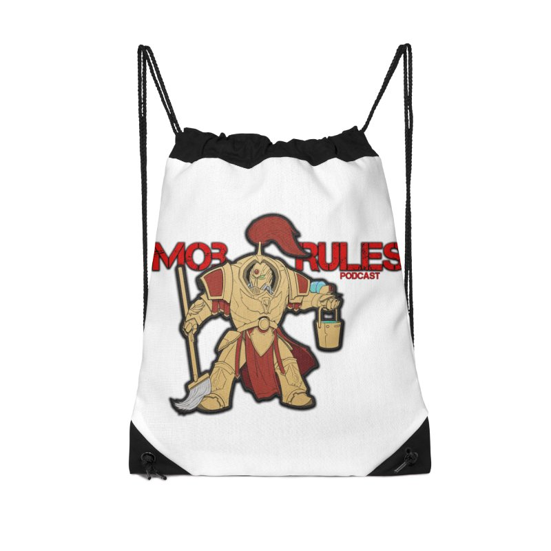 Jeff the Custodes 2.0 Mob Rules Logo Accessories Drawstring Bag Bag by Mob Rules Podcast