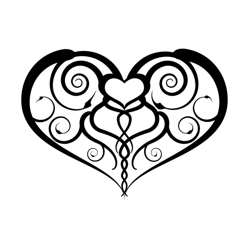 Tendril Hearts (Black) Home Stretched Canvas by The Modern Goldfish Shop
