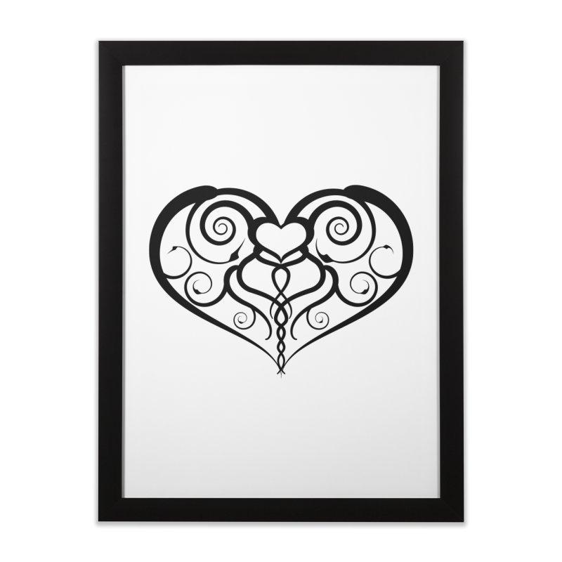 Tendril Hearts (Black) Home Framed Fine Art Print by The Modern Goldfish Shop