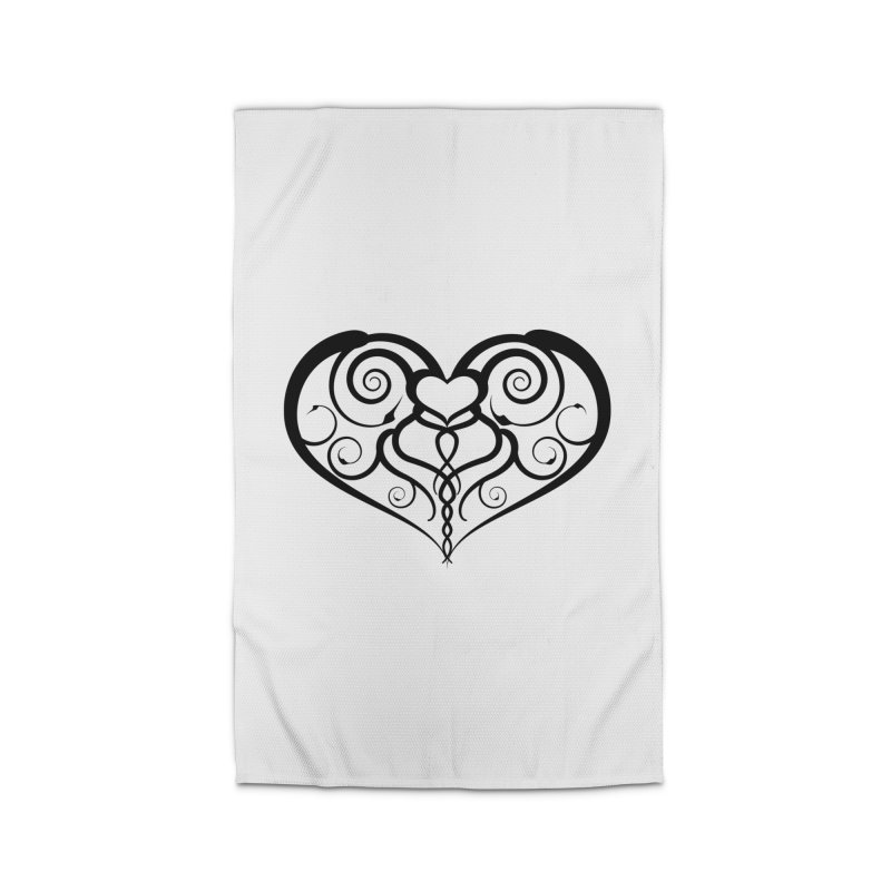 Tendril Hearts (Black) Home Rug by The Modern Goldfish Shop
