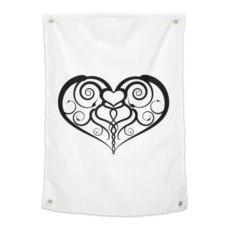Tendril Hearts (Black) Home Tapestry by The Modern Goldfish Shop