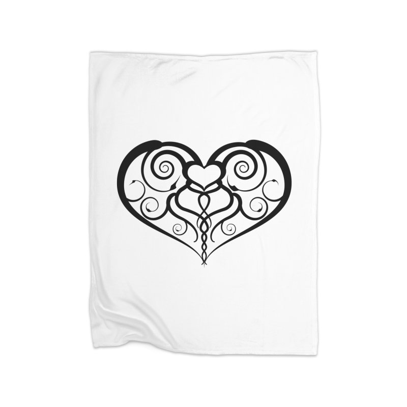 Tendril Hearts (Black) Home Blanket by The Modern Goldfish Shop