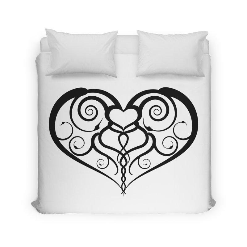 Tendril Hearts (Black) Home Duvet by The Modern Goldfish Shop