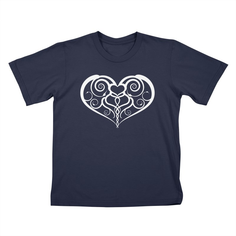 Tendril Hearts (White) Kids T-Shirt by The Modern Goldfish Shop