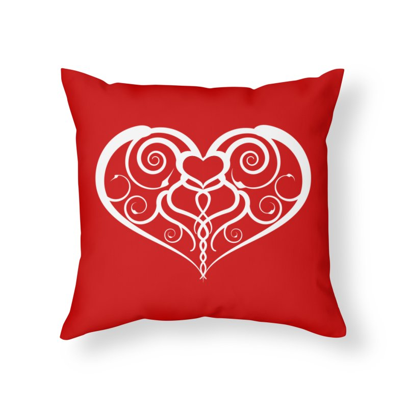 Tendril Hearts (White) Home Throw Pillow by The Modern Goldfish Shop