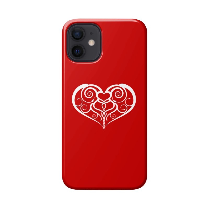Tendril Hearts (White) Accessories Phone Case by The Modern Goldfish Shop