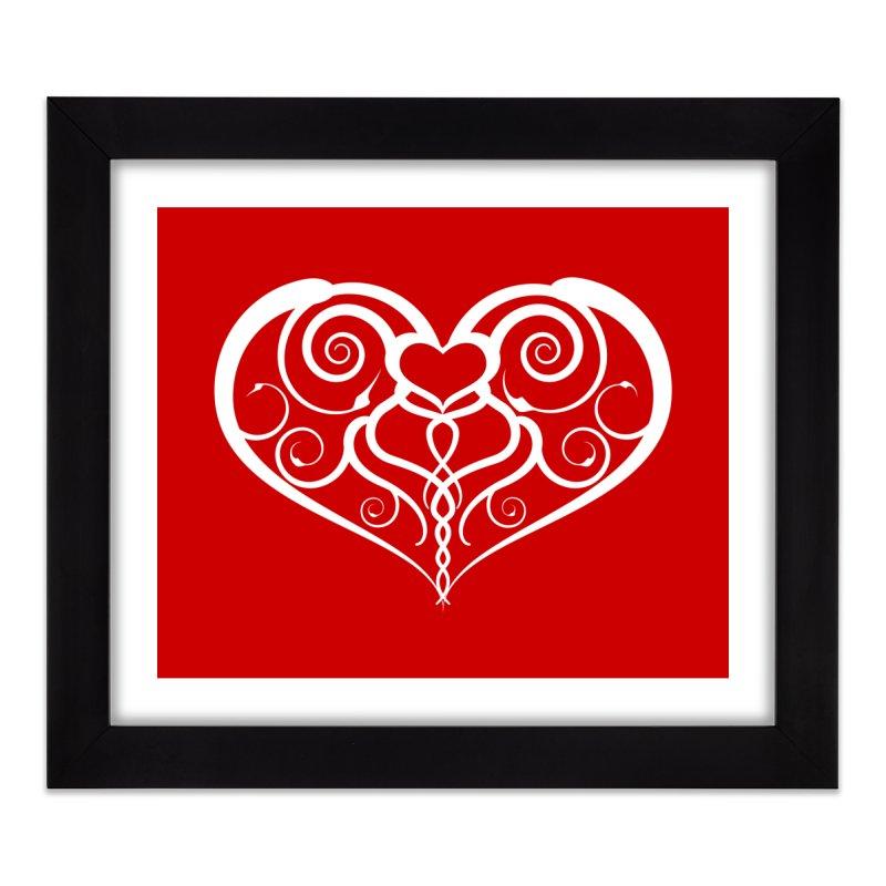 Tendril Hearts (White) Home Framed Fine Art Print by The Modern Goldfish Shop