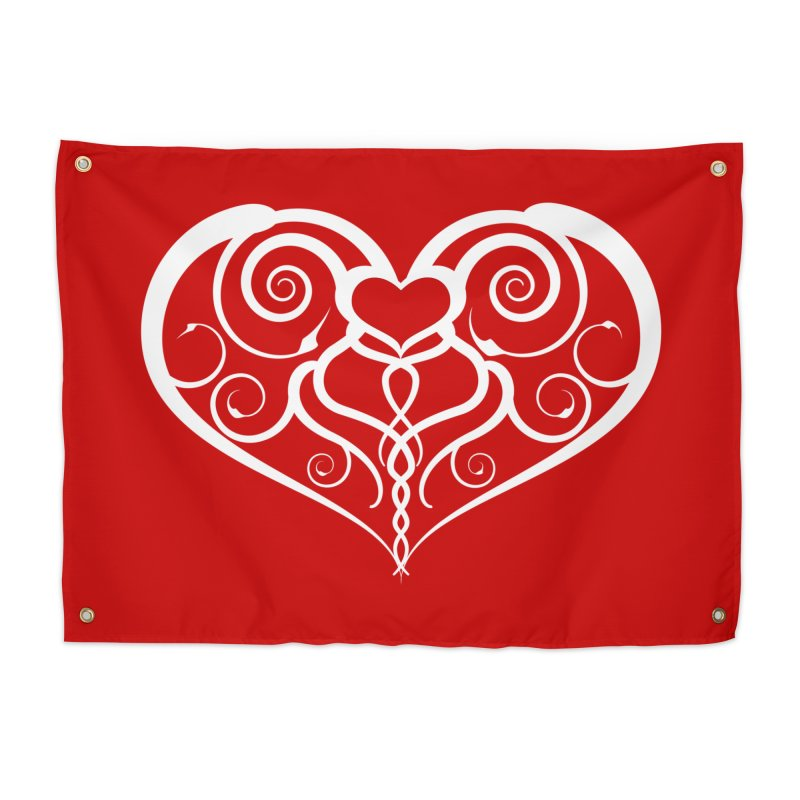 Tendril Hearts (White) Home Tapestry by The Modern Goldfish Shop