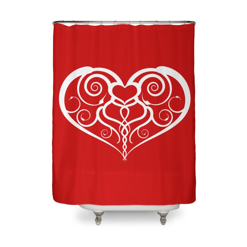 Tendril Hearts (White) Home Shower Curtain by The Modern Goldfish Shop