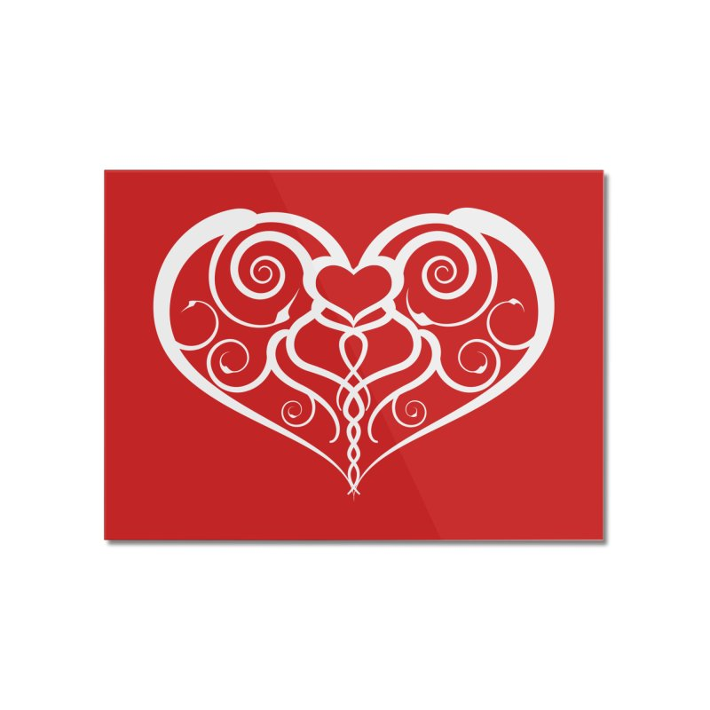 Tendril Hearts (White) Home Mounted Acrylic Print by The Modern Goldfish Shop