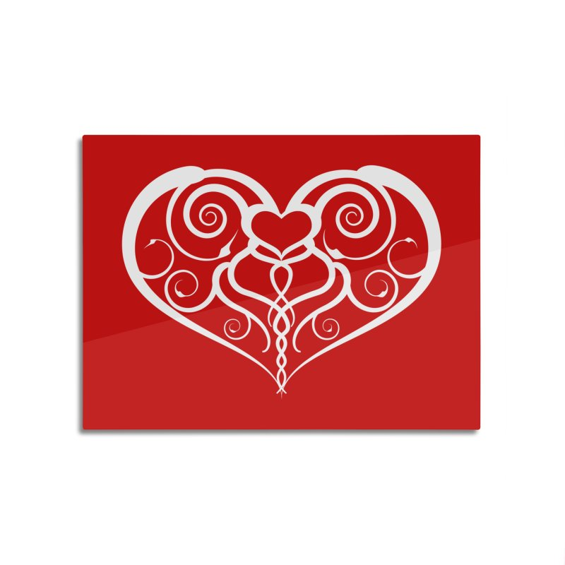 Tendril Hearts (White) Home Mounted Aluminum Print by The Modern Goldfish Shop