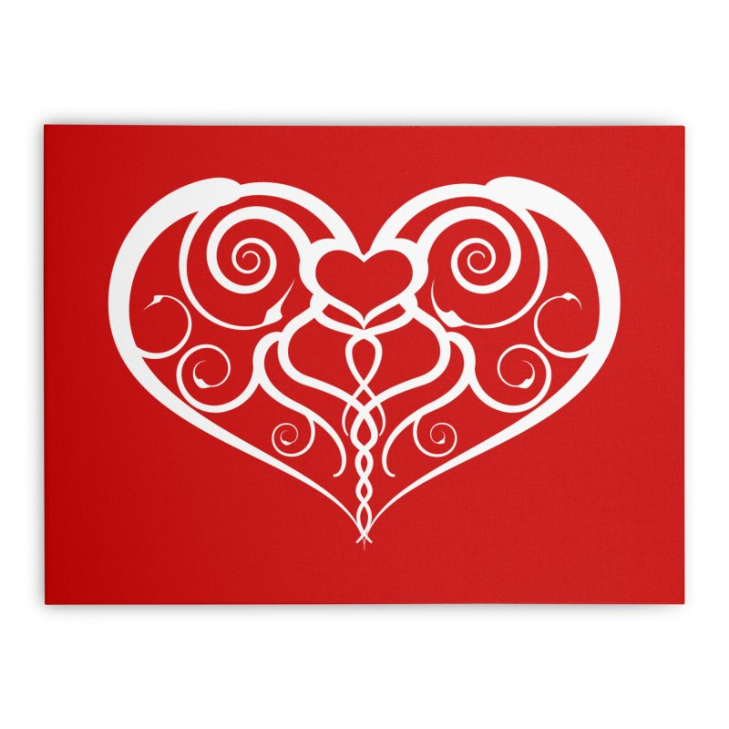 Tendril Hearts (White) Home Stretched Canvas by The Modern Goldfish Shop