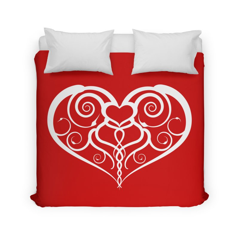Tendril Hearts (White) Home Duvet by The Modern Goldfish Shop