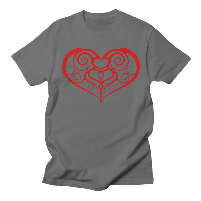 Tendril Hearts (Red) Men's T-Shirt by The Modern Goldfish Shop