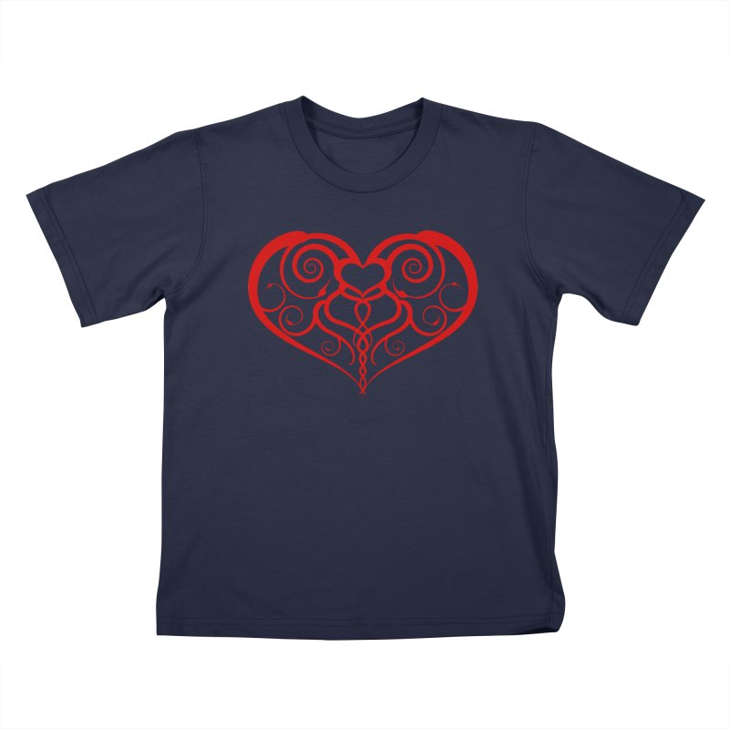 Tendril Hearts (Red) Kids T-Shirt by The Modern Goldfish Shop