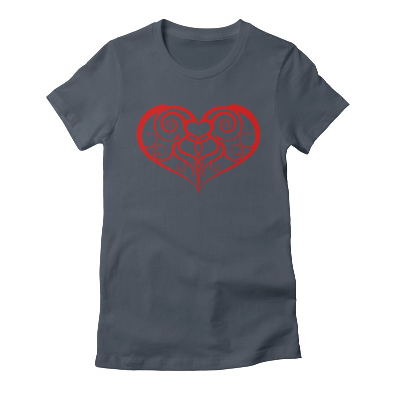 Tendril Hearts (Red) Women's T-Shirt by The Modern Goldfish Shop