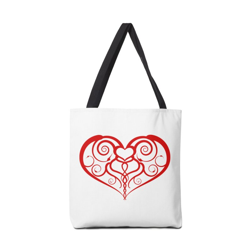 Tendril Hearts (Red) Accessories Bag by The Modern Goldfish Shop