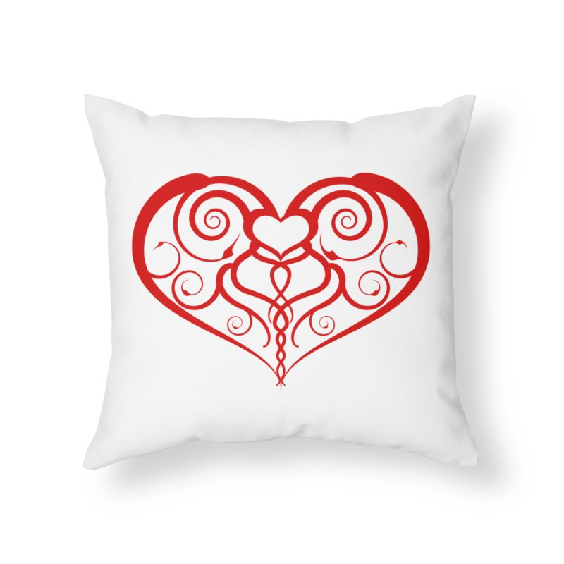 Tendril Hearts (Red) Home Throw Pillow by The Modern Goldfish Shop