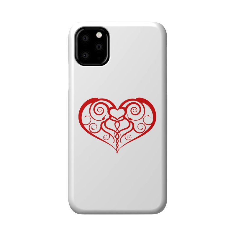 Tendril Hearts (Red) Accessories Phone Case by The Modern Goldfish Shop