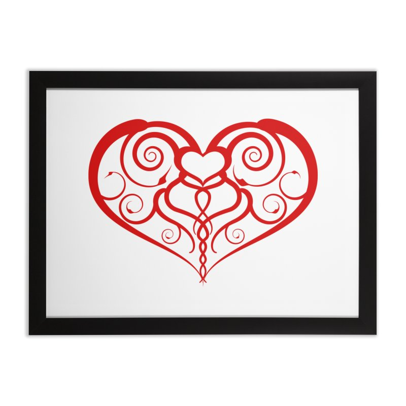 Tendril Hearts (Red) Home Framed Fine Art Print by The Modern Goldfish Shop