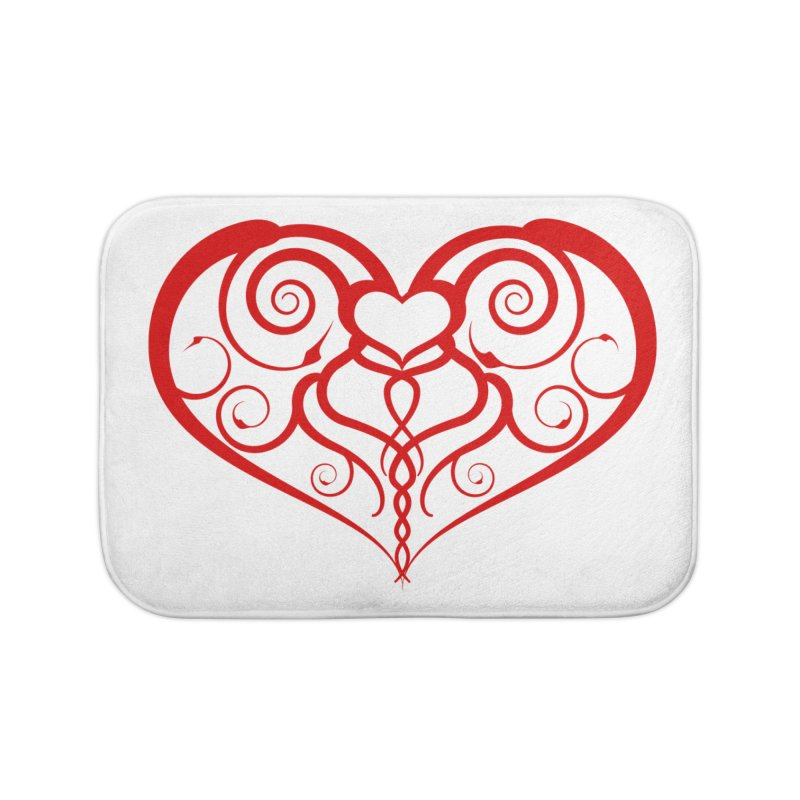 Tendril Hearts (Red) Home Bath Mat by The Modern Goldfish Shop