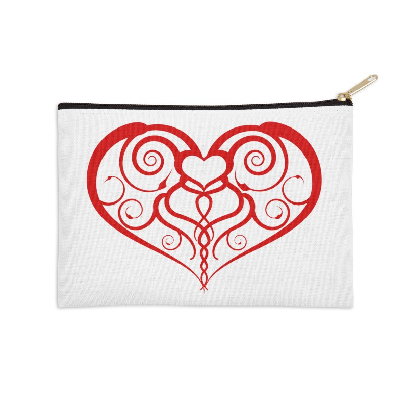 Tendril Hearts (Red) Accessories Zip Pouch by The Modern Goldfish Shop