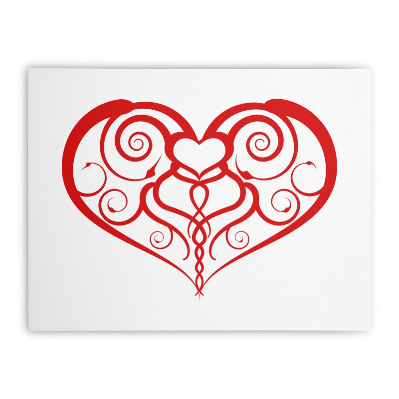 Tendril Hearts (Red) Home Stretched Canvas by The Modern Goldfish Shop
