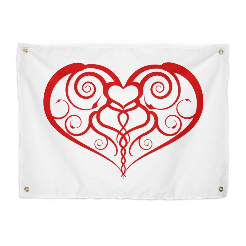 Tendril Hearts (Red) Home Tapestry by The Modern Goldfish Shop