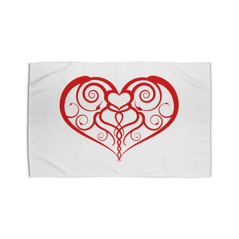 Tendril Hearts (Red) Home Rug by The Modern Goldfish Shop