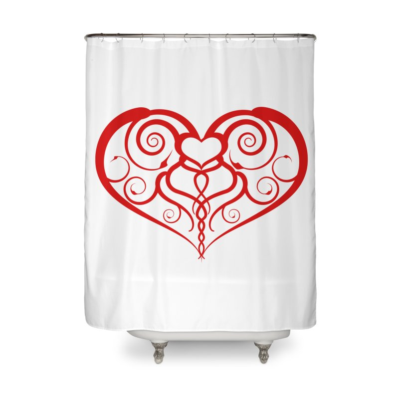 Tendril Hearts (Red) Home Shower Curtain by The Modern Goldfish Shop