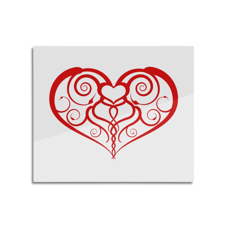Tendril Hearts (Red) Home Mounted Aluminum Print by The Modern Goldfish Shop