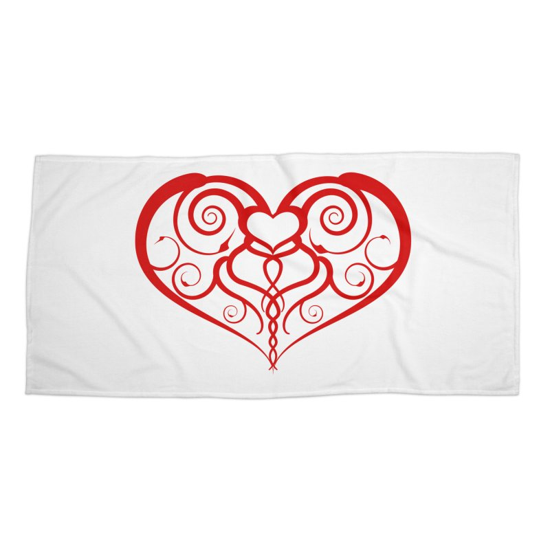 Tendril Hearts (Red) Accessories Beach Towel by The Modern Goldfish Shop