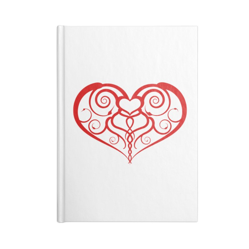 Tendril Hearts (Red) Accessories Notebook by The Modern Goldfish Shop