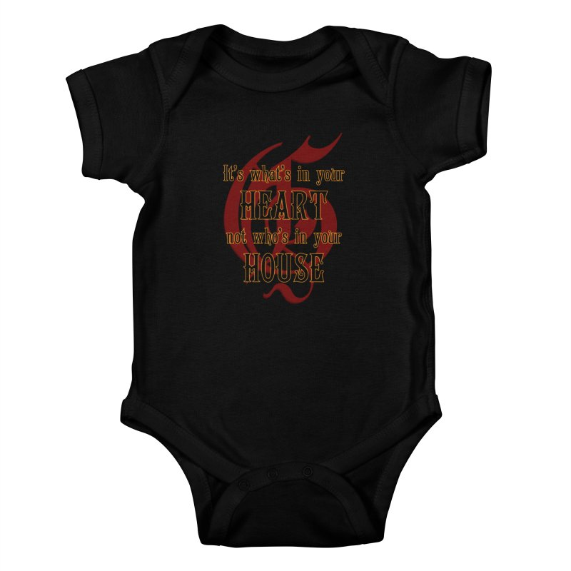 Heart not House - Gryffendor Kids Baby Bodysuit by The Modern Goldfish Shop