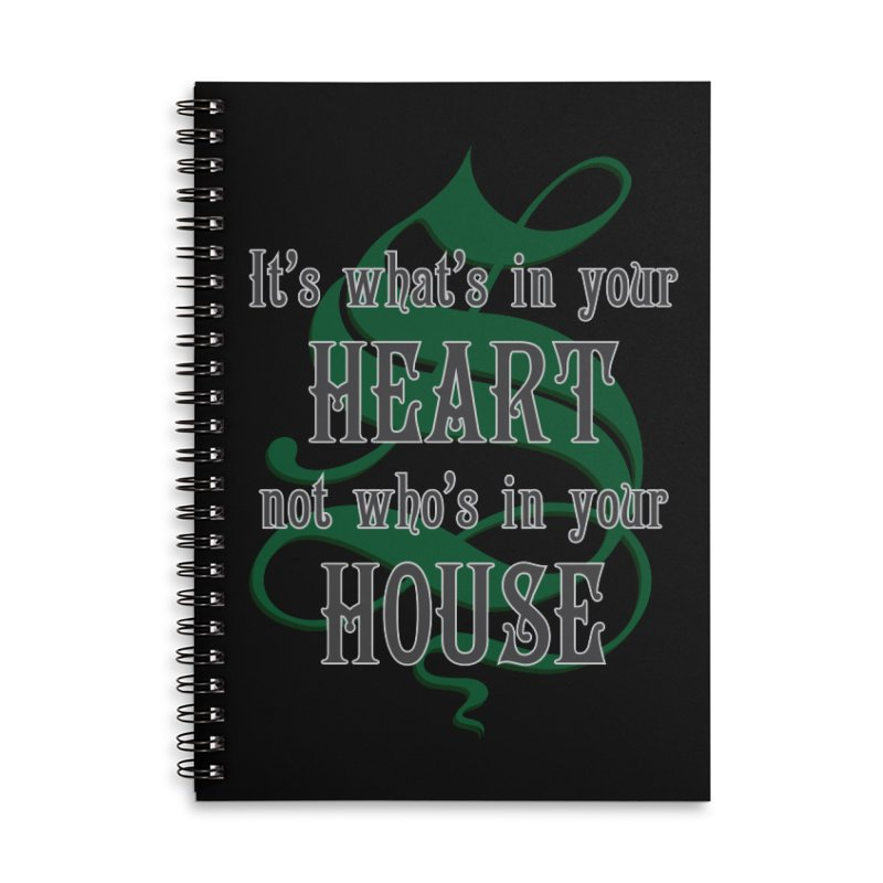 Heart not House - Slytherin Accessories Lined Spiral Notebook by The Modern Goldfish Shop