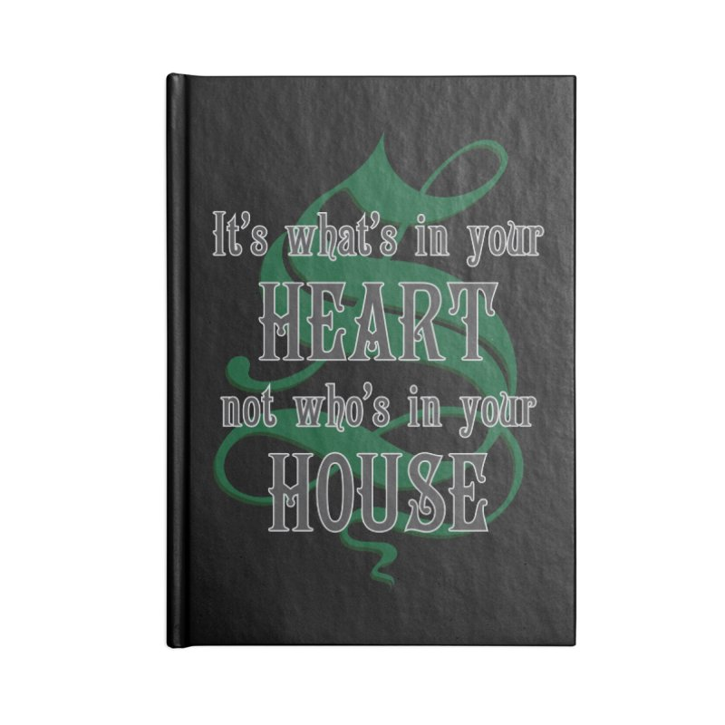 Heart not House - Slytherin Accessories Lined Journal Notebook by The Modern Goldfish Shop