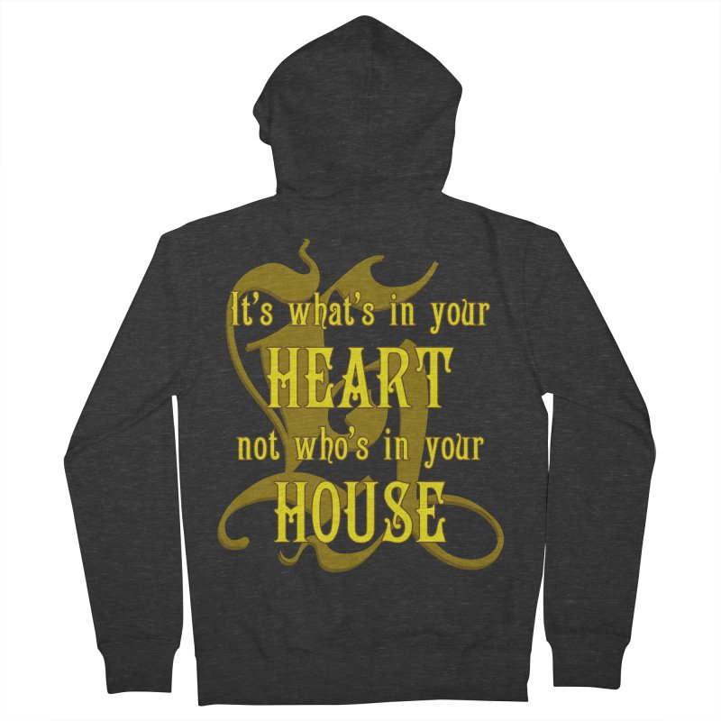 Heart not House - Hufflepuff Men's French Terry Zip-Up Hoody by The Modern Goldfish Shop