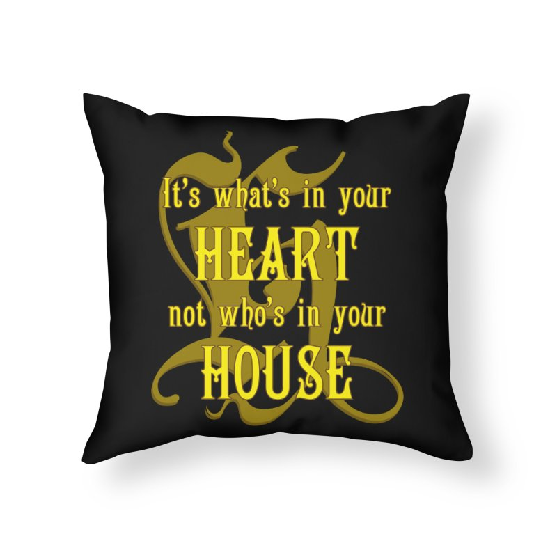 Heart not House - Hufflepuff Home Throw Pillow by The Modern Goldfish Shop